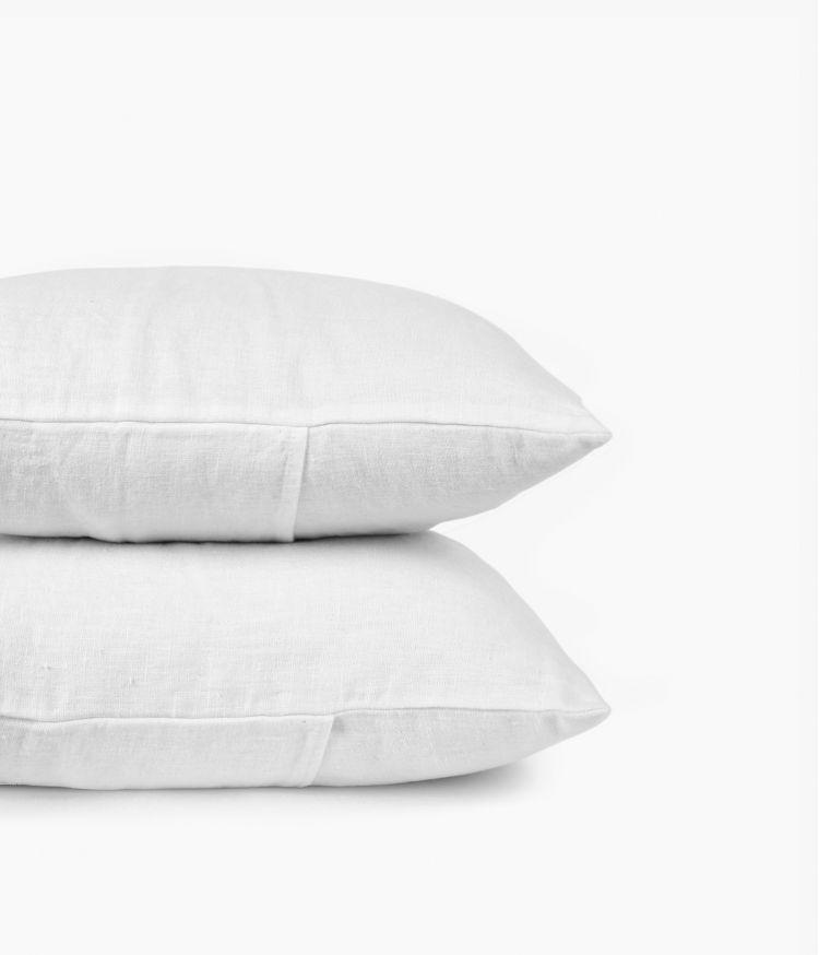 Housse de coussin 45 x 45 cm en Lin lavé - Blanc