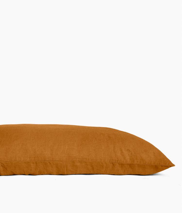 Housse de coussin 55 x 110 cm en Lin lavé - Chamois