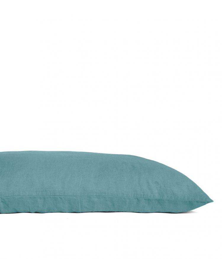Housse de coussin 55 x 110 cm en Lin lavé - Aqua sea