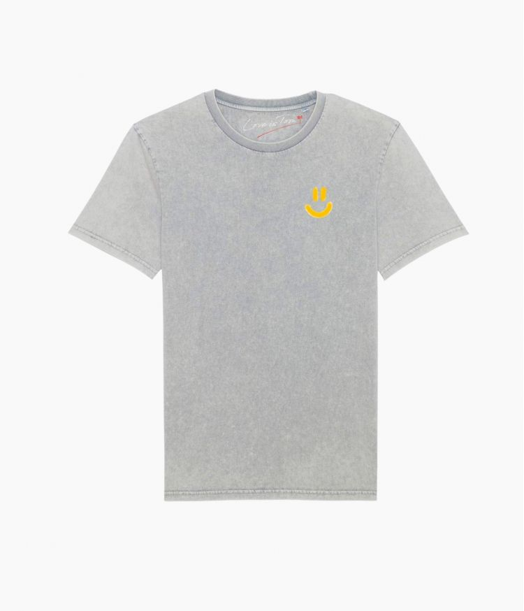 Tee-Shirt Be Happy Please Gris
