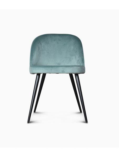Chaise Ingrid en velours - Bleu artic