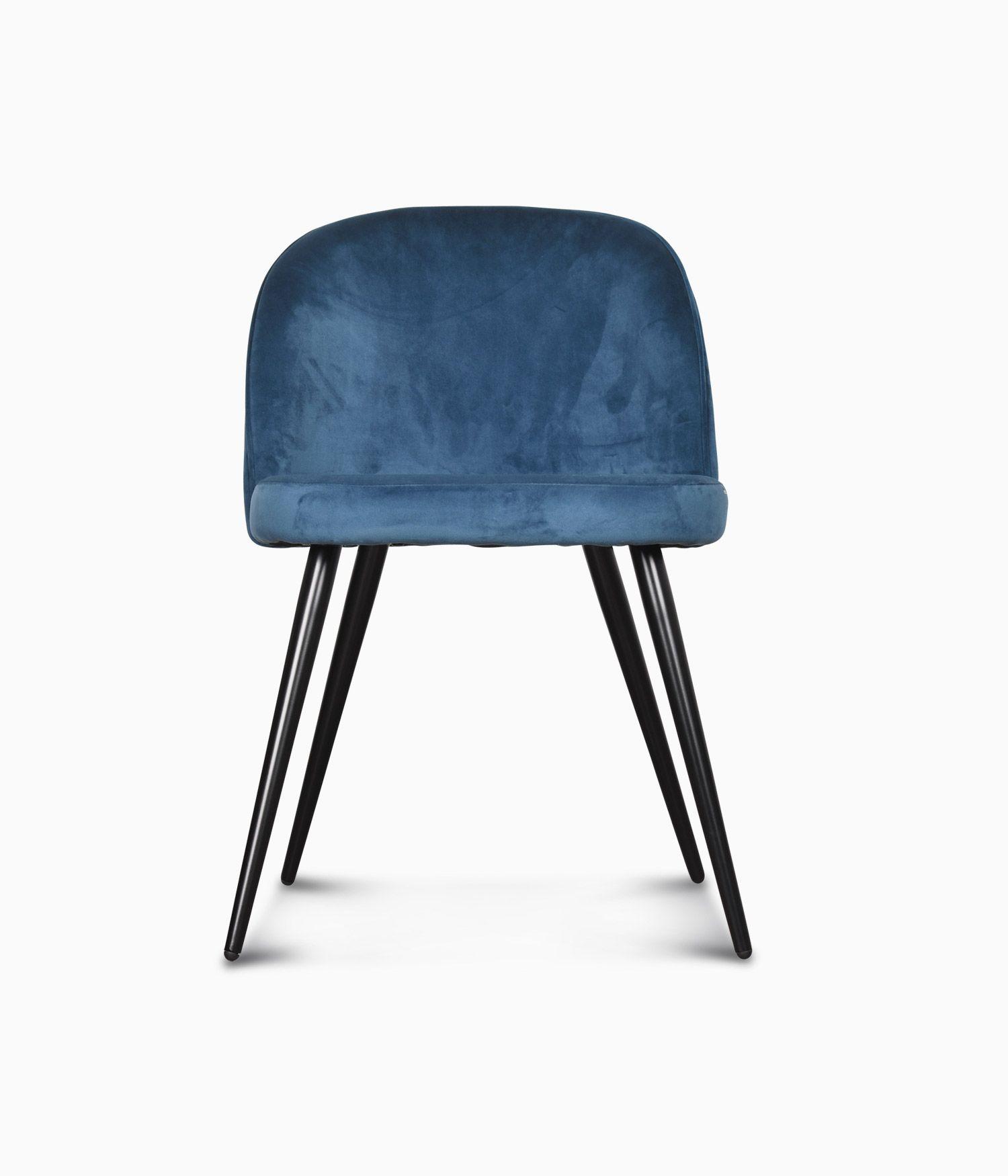 Chaise Ingrid en velours - Bleu canard
