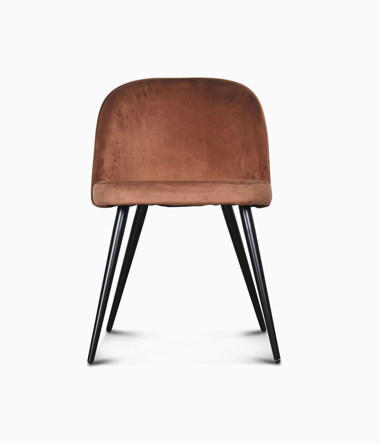 Chaise Ingrid en velours - Terracotta