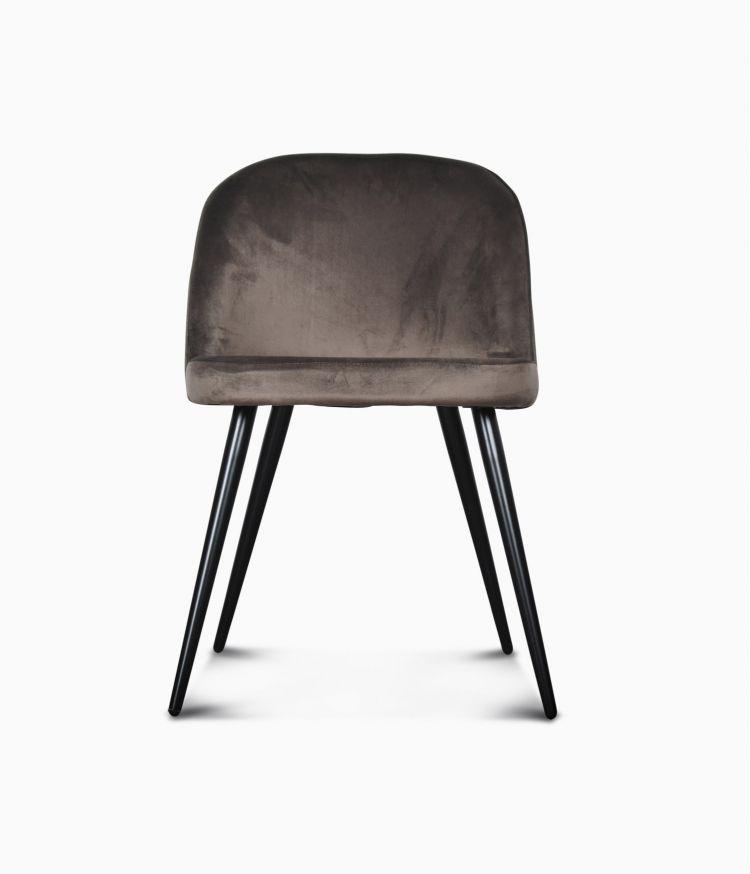 Chaise Ingrid en velours - Smoke