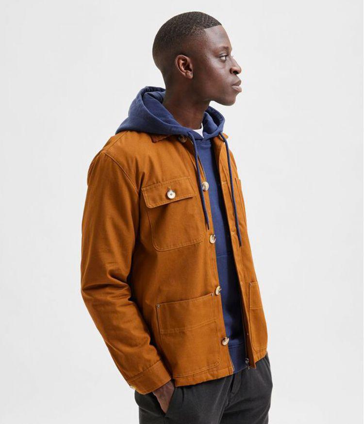 Veste Slhsust iconics en coton biologique - Brown / Monks Robe