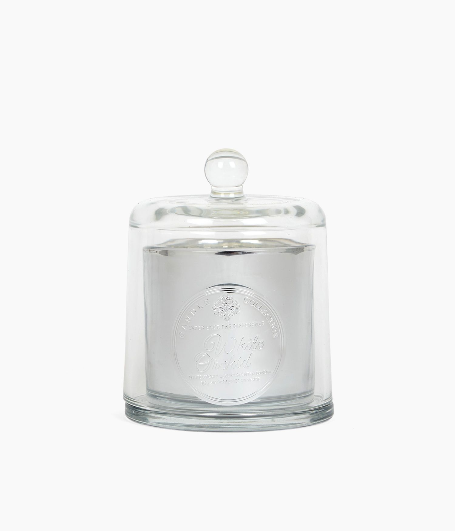 bougie cloche metal pm white orchid